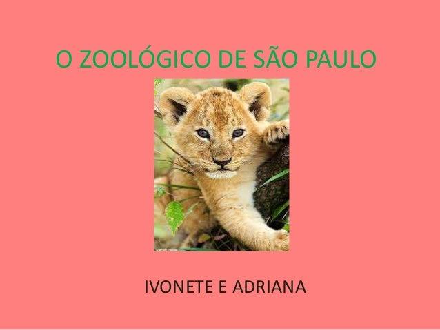 O ZOOLÓGICO DE SÃO PAULOIVONETE E ADRIANA