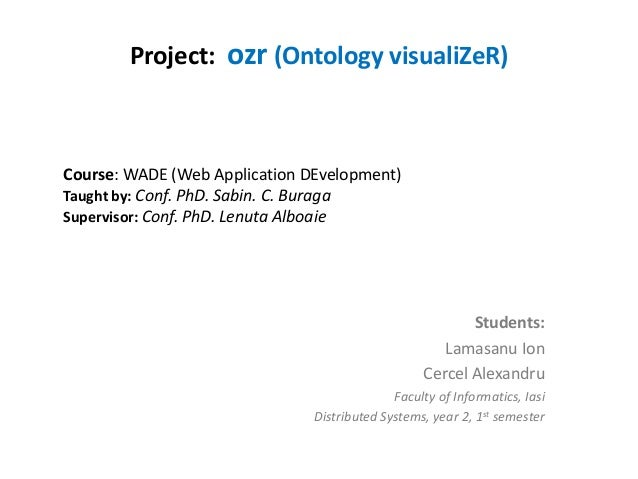 Project: ozr (Ontology visualiZeR)  Course: WADE (Web Application DEvelopment) Taught by: Conf. PhD. Sabin. C. Buraga Supe...