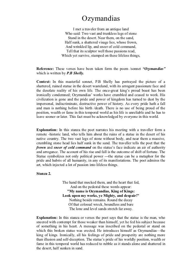 ozymandias poem by percy bysshe shelley analysis