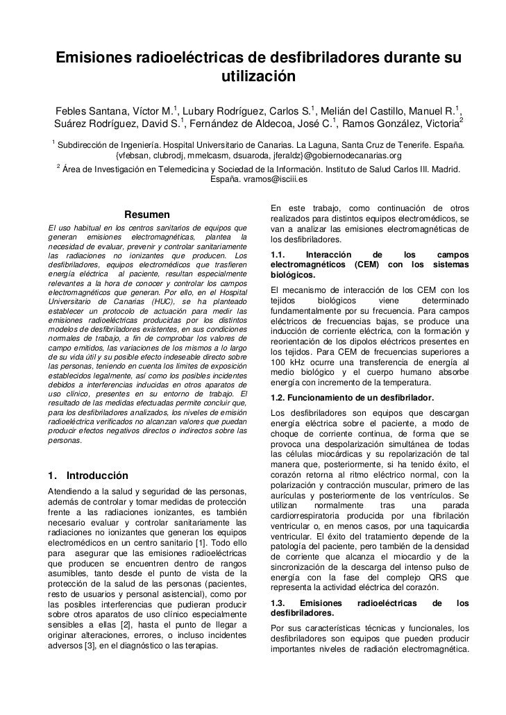 Emisiones radioeléctricas de desfibriladores durante su                        utilización Febles Santana, Víctor M.1, Lub...