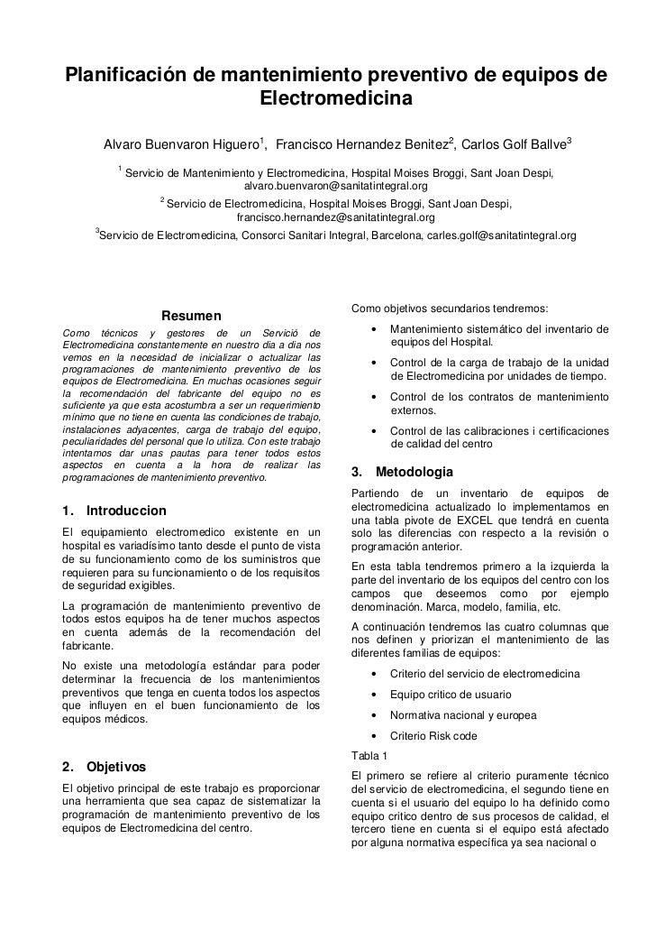 Planificación de mantenimiento preventivo de equipos de                    Electromedicina           Alvaro Buenvaron Higu...