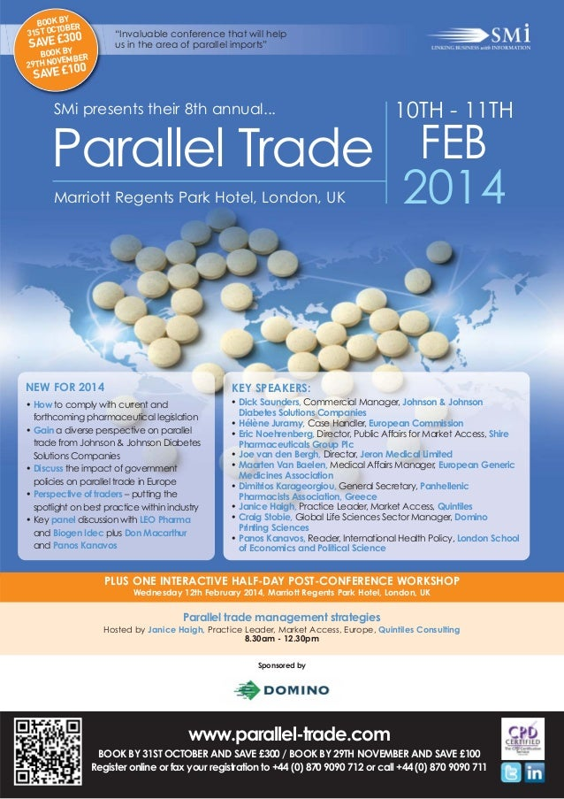 "BOOK BY ER OB 31ST OCT  ""Invaluable conference that will help us in the area of parallel imports""  0 SAVE £30 Y  BOOK B BE..."