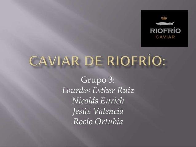 Grupo 3:Lourdes Esther Ruiz  Nicolás Enrich  Jesús Valencia  Rocío Ortubia