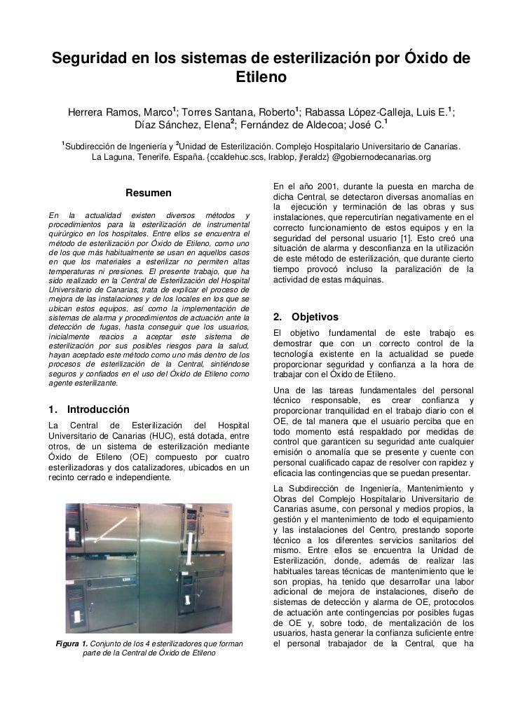Seguridad en los sistemas de esterilización por Óxido de                        Etileno       Herrera Ramos, Marco1; Torre...