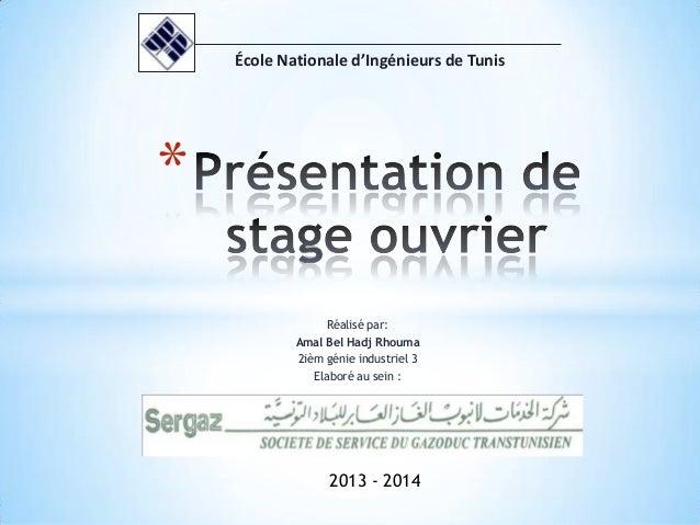 Réalisé par: Amal Bel Hadj Rhouma 2ièm génie industriel 3 Elaboré au sein : * École Nationale d'Ingénieurs de Tunis 2013 -...