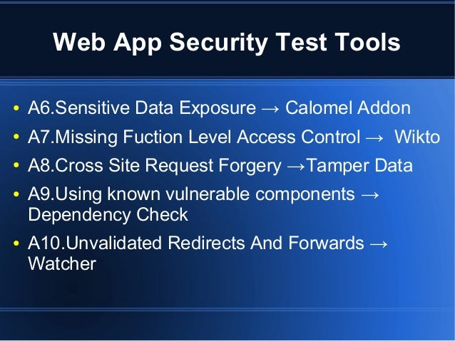 Web application security test tools