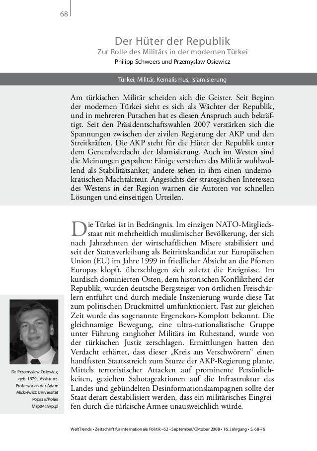 WeltTrends • Zeitschrift für internationale Politik • 62 • September/Oktober 2008 • 16. Jahrgang • S. 68-76 68 Der Hüter d...