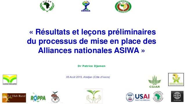 Dr Patrice Djamen 05 Août 2015, Abidjan (Côte d'Ivoire) « Résultats et leçons préliminaires du processus de mise en place ...