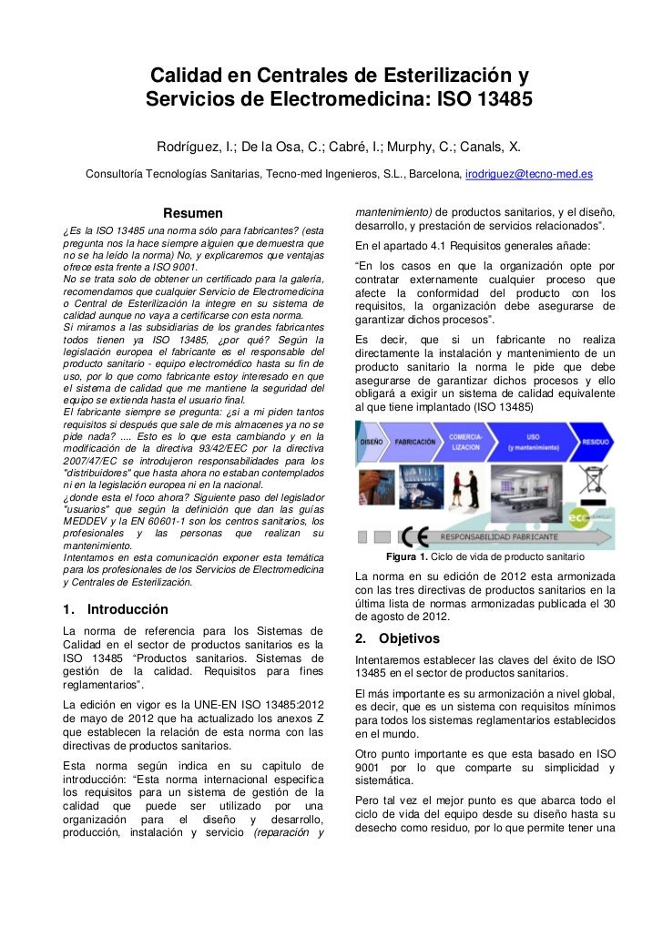 Calidad en Centrales de Esterilización y                  Servicios de Electromedicina: ISO 13485                     Rodr...