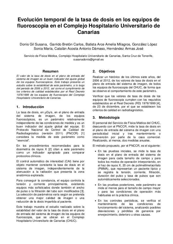 Evolución temporal de la tasa de dosis en los equipos defluoroscopia en el Complejo Hospitalario Universitario de         ...