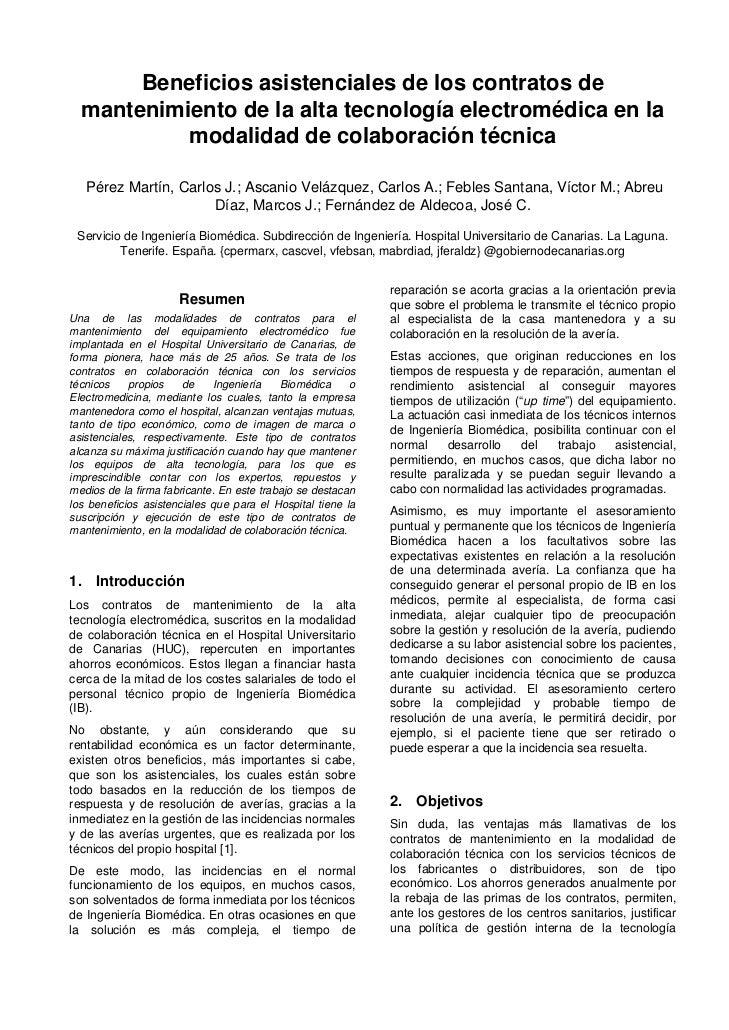Beneficios asistenciales de los contratos de  mantenimiento de la alta tecnología electromédica en la           modalidad ...