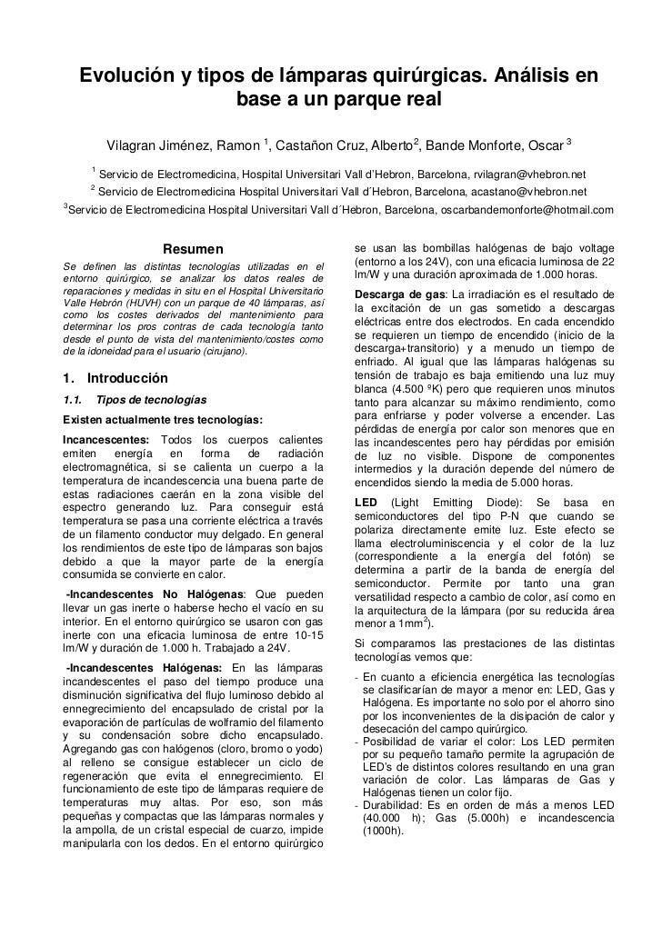 Evolución y tipos de lámparas quirúrgicas. Análisis en                    base a un parque real            Vilagran Jiméne...