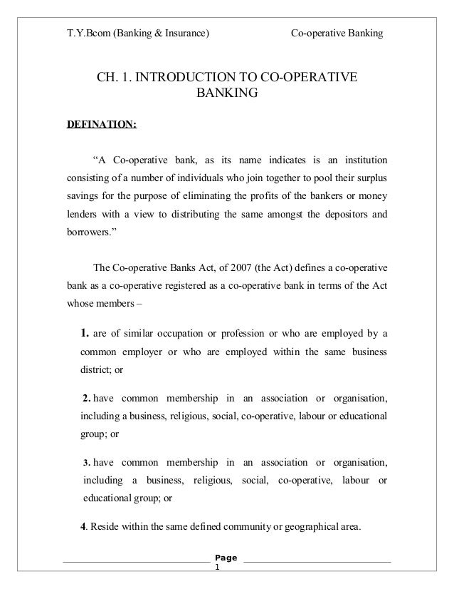 T.Y.Bcom (Banking & Insurance)                         Co-operative Banking       CH. 1. INTRODUCTION TO CO-OPERATIVE     ...