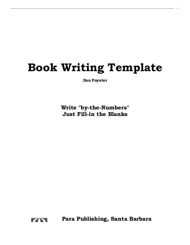book writing template dan poynter write by the numbers just fill