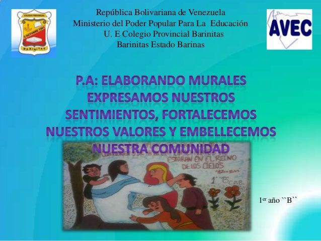 República Bolivariana de Venezuela Ministerio del Poder Popular Para La Educación U. E Colegio Provincial Barinitas Barini...
