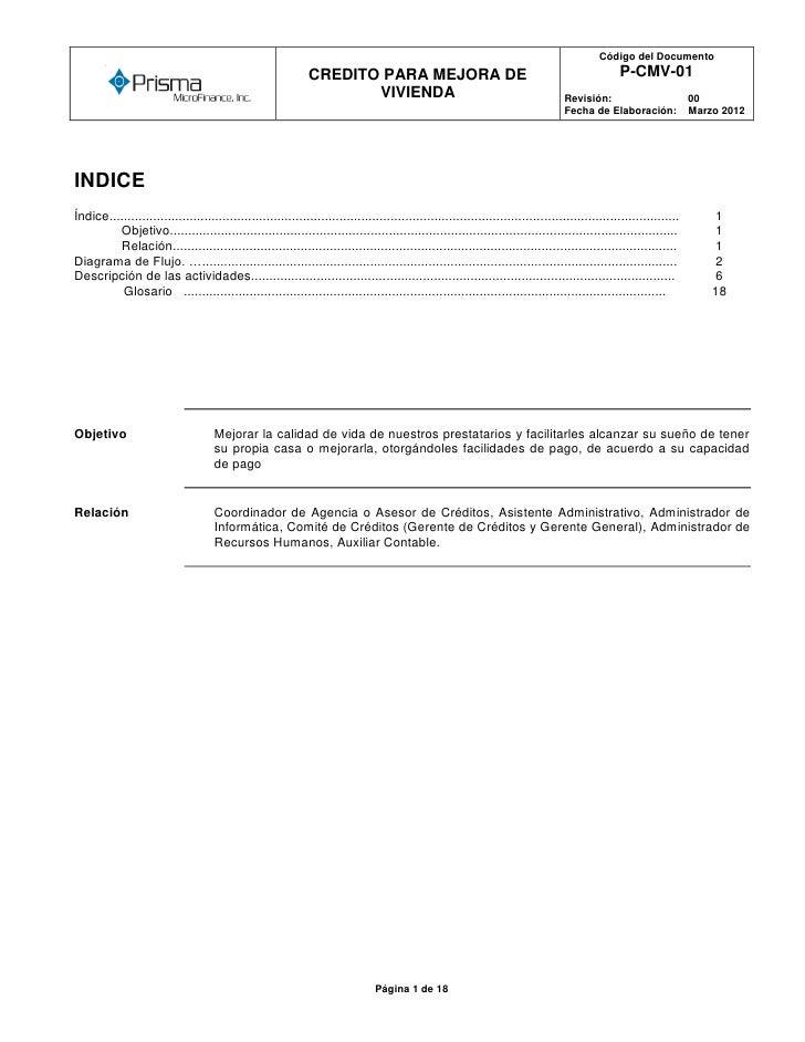 Código del Documento        o                                                              CREDITO PARA MEJORA DE         ...