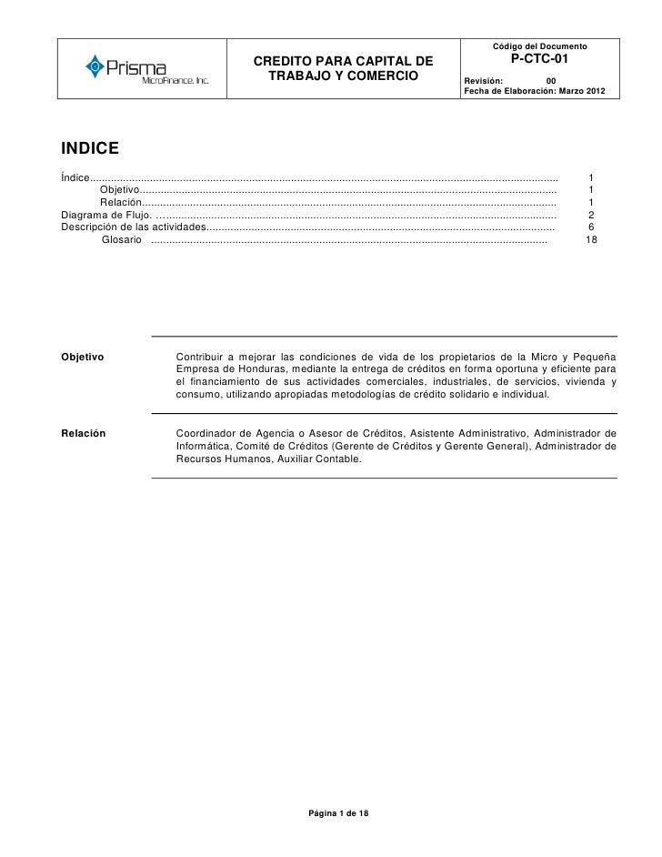 Código del Documento      o                                                              CREDITO PARA CAPITAL DE          ...
