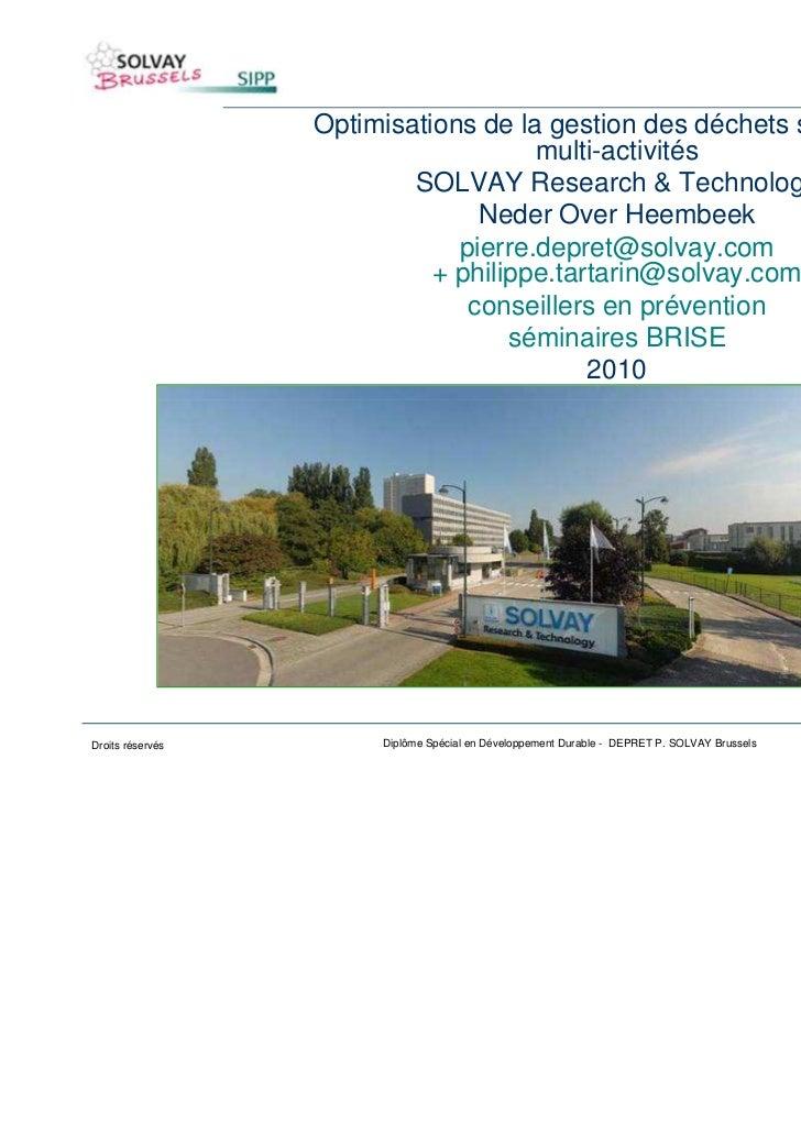Optimisations de la gestion des déchets sur un site                                     multi-activités                   ...