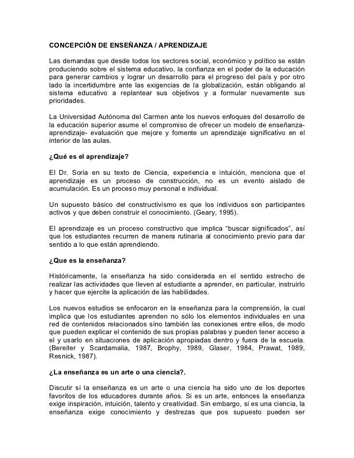 CONCEPCIÓN DE ENSEÑANZA / APRENDIZAJELas demandas que desde todos los sectores social, económico y político se estánproduc...