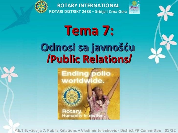 ROTARY INTERNATIONAL                   ROTARI DISTRIKT 2483 – Srbija i Crna Gora                           Tema 7:        ...