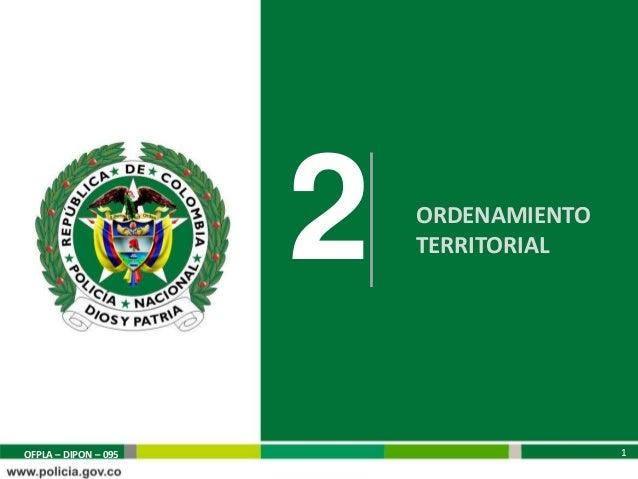 2   ORDENAMIENTO                          TERRITORIAL                                         1OFPLA – DIPON – 095        ...