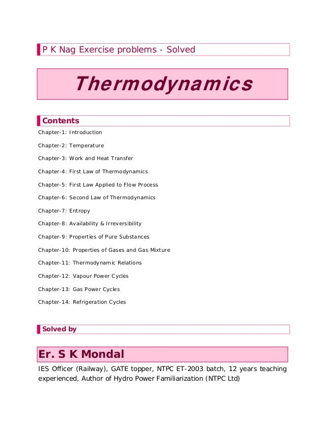 Solution manual to basic and engineering thermodynamics by p k nag 4t p k nag exercise problems solved thermodynamics contents chapter 1 introduction chapter 2 benefits of fandeluxe Image collections