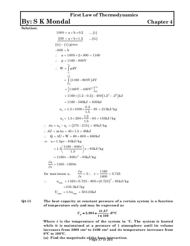 solution manual to basic and engineering thermodynamics by p k nag 4t rh slideshare net Smith Chemical Engineering Thermodynamics Chemical Engineering Thermodynamics Problems