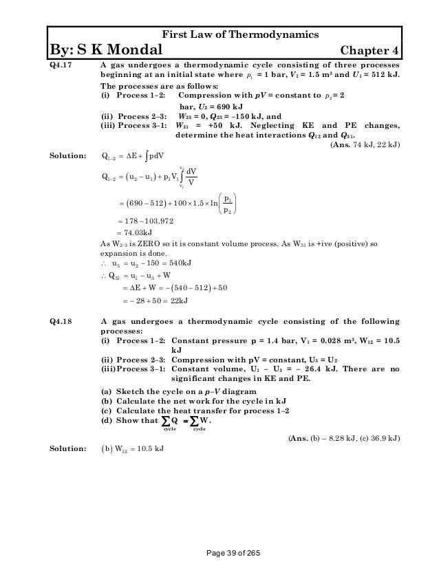 Solution Manual To Basic And Engineering Thermodynamics By P K Nag 4th Edition on Ideal Gas Law Worksheet Answers