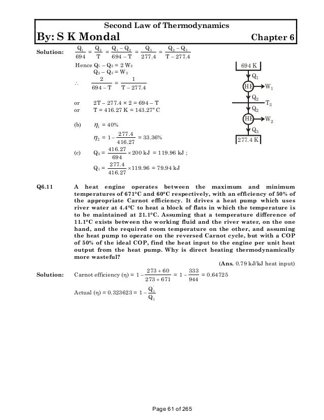 Solution manual to basic and engineering thermodynamics by p k nag 4t 61 second law of thermodynamics fandeluxe Images