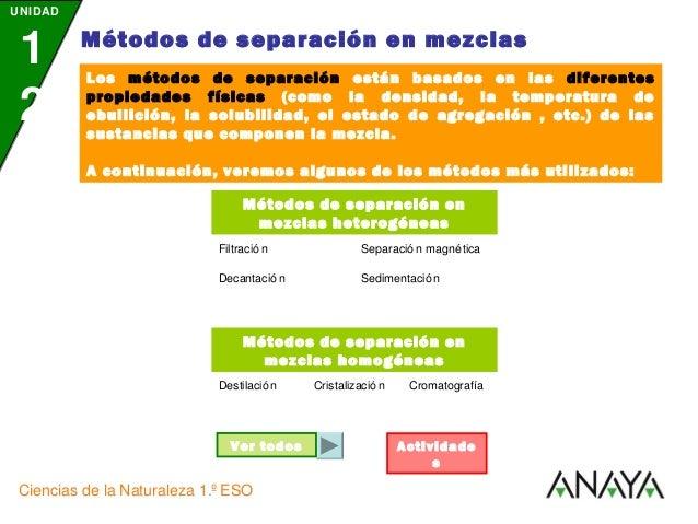 UNIDAD  1 2  Métodos de separación en mezclas Los métodos de separación están basados en las diferentes propiedades física...
