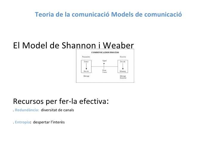 Teoria de la comunicació Models de comunicació <ul><li>El Model de Shannon i Weaber  </li></ul><ul><li>Recursos per fer-la...