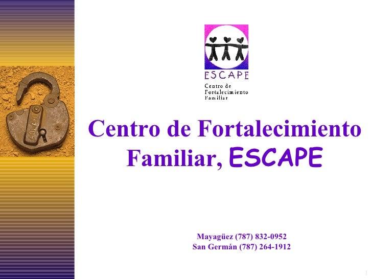 Centro de Fortalecimiento Familiar,  ESCAPE Mayagüez (787) 832-0952 San Germán (787) 264-1912