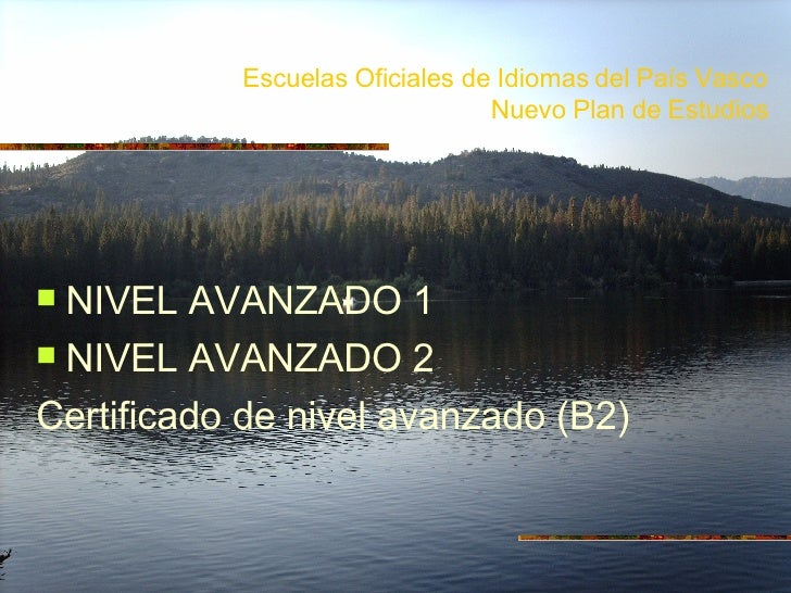 Escuelas Oficiales de Idiomas del País Vasco Nuevo Plan de Estudios <ul><li>NIVEL AVANZADO 1 </li></ul><ul><li>NIVEL AVANZ...