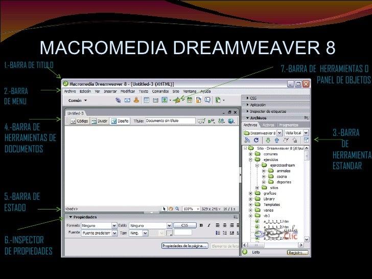 MACROMEDIA DREAMWEAVER 8 1.-BARRA DE TITULO 2.-BARRA  DE MENU 3.-BARRA DE HERRAMIENTA ESTANDAR 4.-BARRA DE  HERRAMIENTAS D...