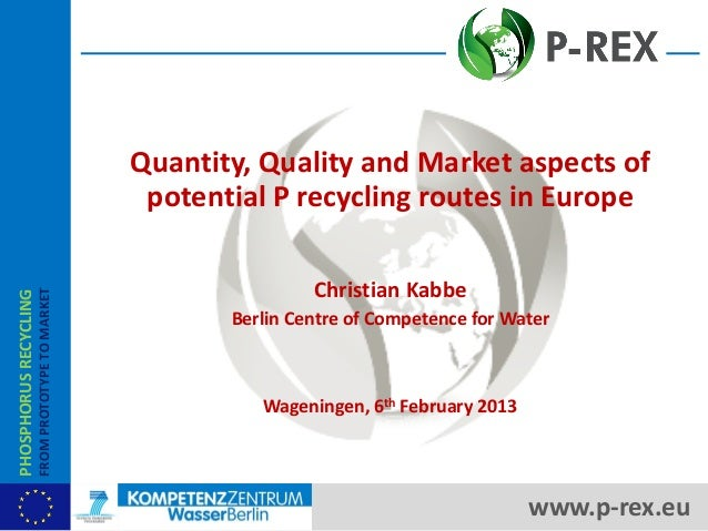 Quantity, Quality and Market aspects of potential P recycling routes in Europe Christian Kabbe Berlin Centre of Competence...