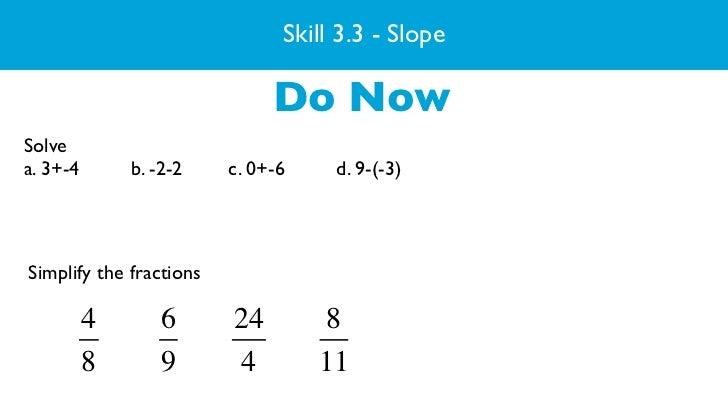 Skill 3.3 - Slope                                   3/7/2011                              Do NowSolvea. 3+-4       b. -2-2...