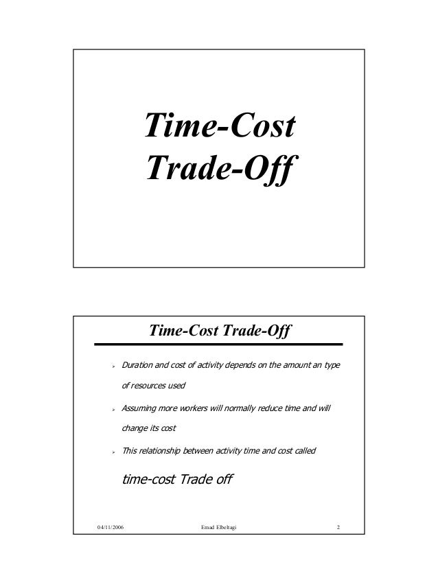 Time-Cost              Trade-Off                Time-Cost Trade-Off         Duration and cost of activity depends on the a...
