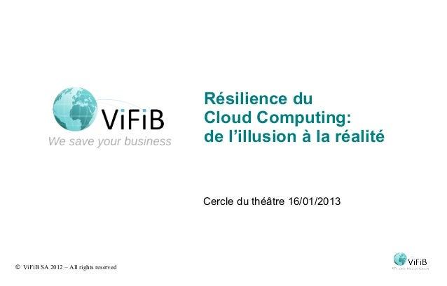 Résilience du                                        Cloud Computing:                                        de l'illusion...