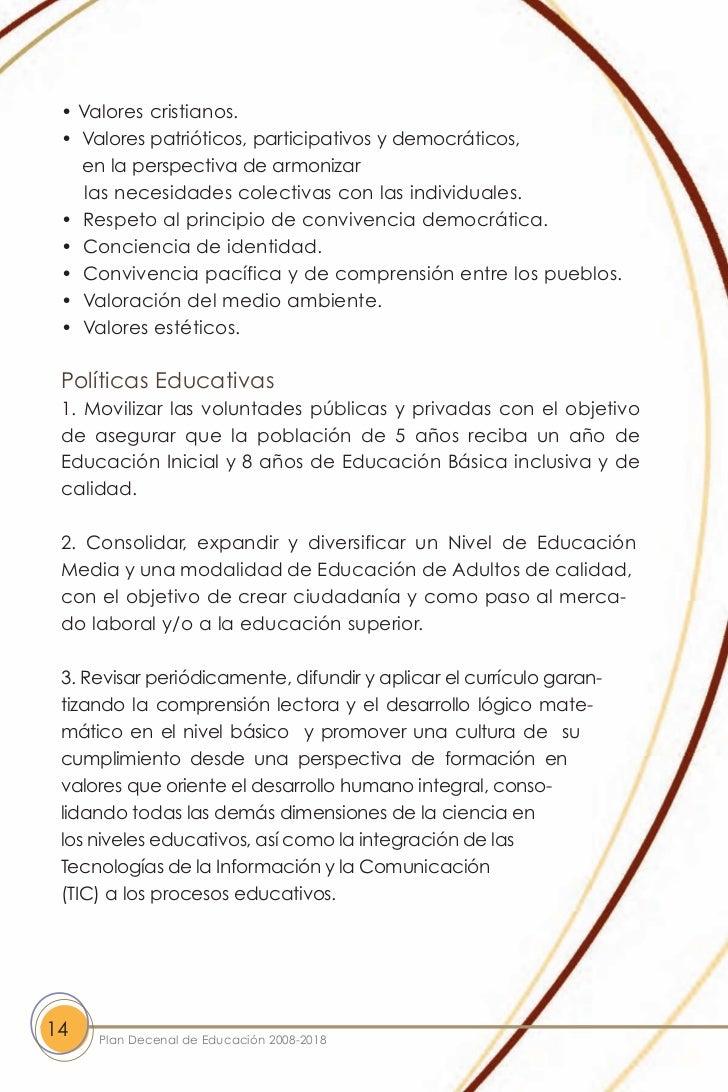 Plan Decenal de Educacion 2008-2018