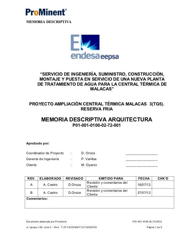 P01 001 0100 02 72 001 b memoria descriptiva arquitectura for Memoria descriptiva arquitectura
