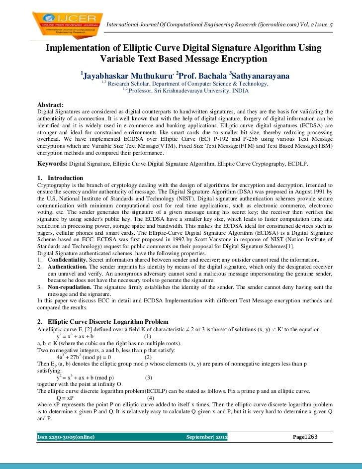 International Journal Of Computational Engineering Research (ijceronline.com) Vol. 2 Issue. 5   Implementation of Elliptic...