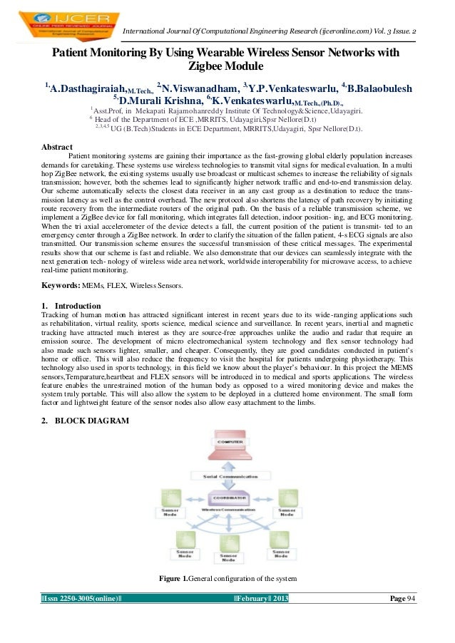 International Journal Of Computational Engineering Research (ijceronline.com) Vol. 3 Issue. 2      Patient Monitoring By U...
