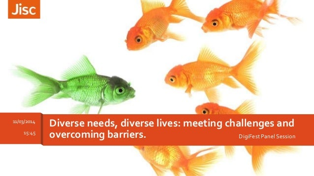 DigiFest Panel Session Diverse needs, diverse lives: meeting challenges and overcoming barriers. 11/03/2014 15:45