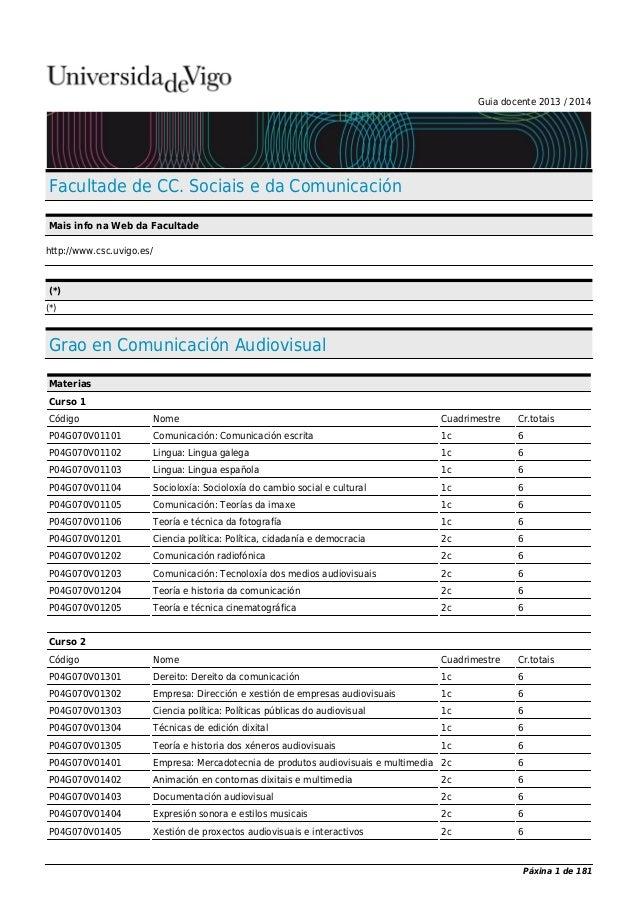 Guia docente 2013 / 2014 Facultade de CC. Sociais e da Comunicación Mais info na Web da Facultade http://www.csc.uvigo.es/...