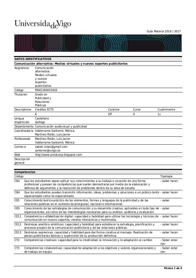 Guía Materia 2016 / 2017 DATOS IDENTIFICATIVOS Comunicación alternativa: Medios virtuales y nuevos soportes publicitarios ...