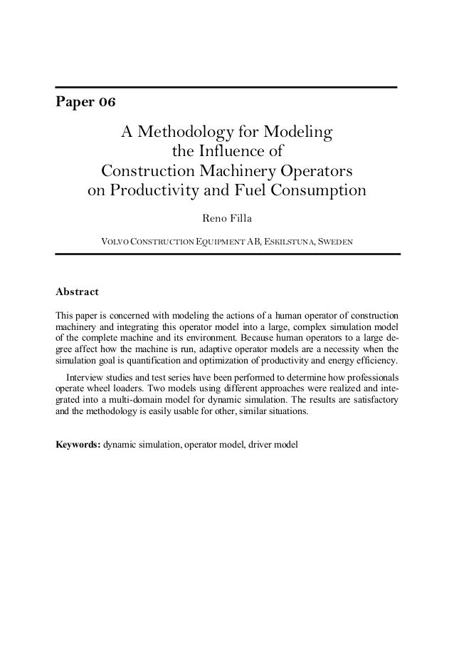 Paper 06 A Methodology for Modeling the Influence of Construction Machinery Operators on Productivity and Fuel Consumption...