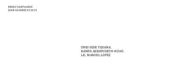 EMELY SANTACRUZ JUAN ALVAREZ #13415  UNID SEDE TIJUANA. RAMPA AEROPUERTO #5545. LIC. MANUEL LOPEZ