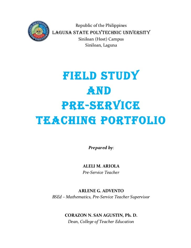 Field Study And Pre  Service Teaching Portfolio