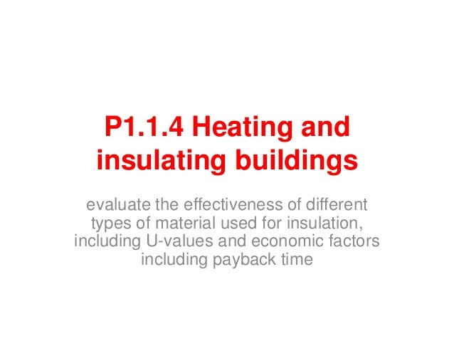 P1.1.4 Heating andinsulating buildingsevaluate the effectiveness of differenttypes of material used for insulation,includi...