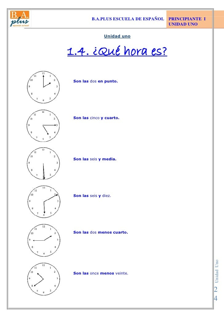 Telling Time in Spanish - Lesson - BA Plus